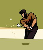 Golfer chipping from a Sand Trap. Includes a high-resolution XXL JPEG. Elements are layered and labeled for easier color changes.