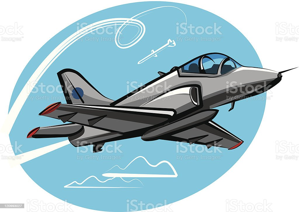 Cartoon image of a jet fighter royalty-free stock vector art