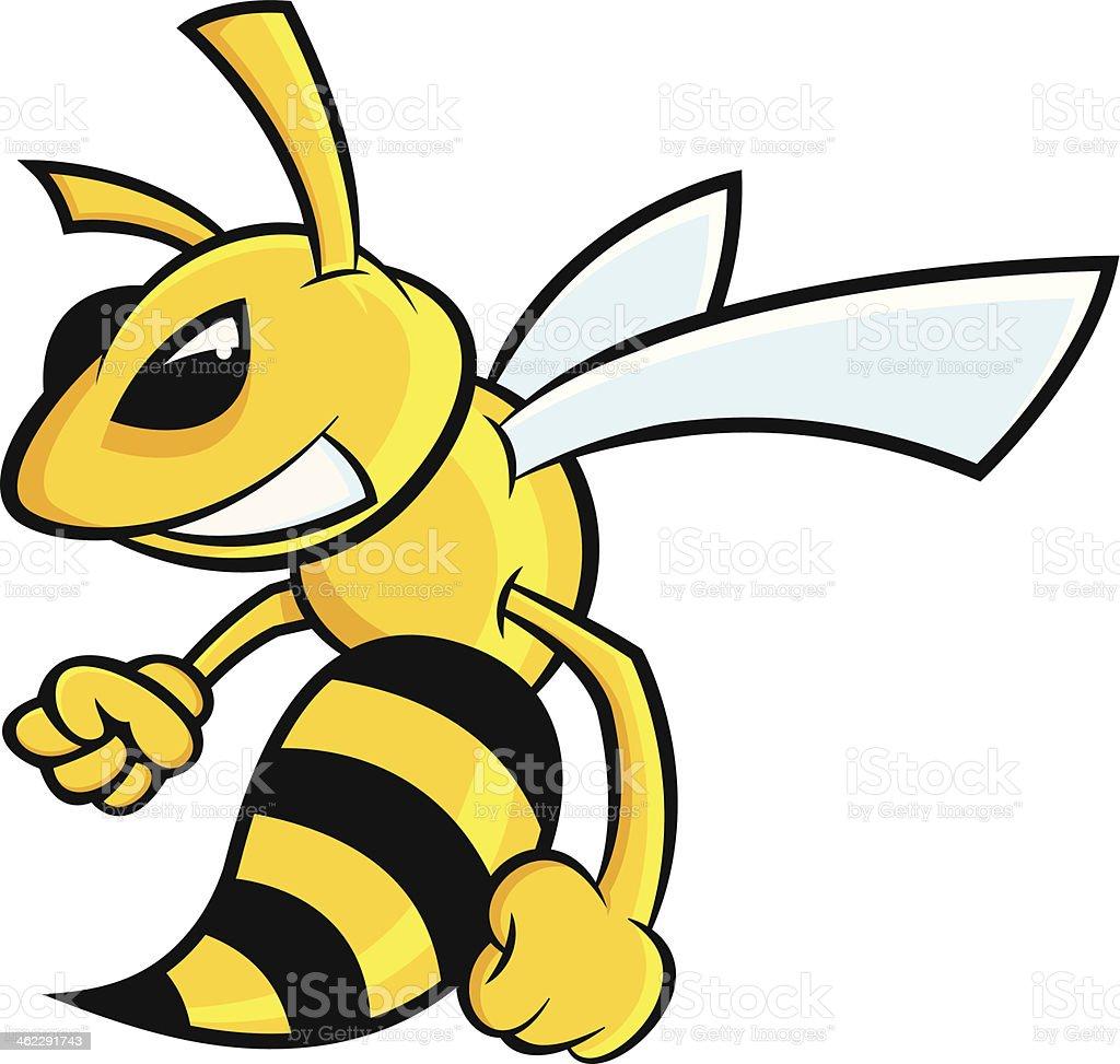 A cartoon image of a mad hornet vector art illustration
