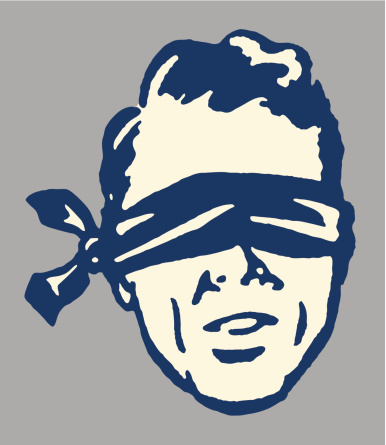 A cartoon image of a man in a blindfold