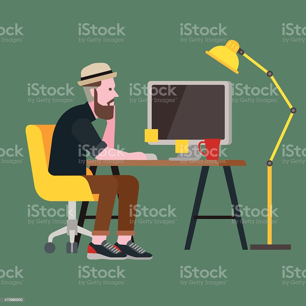 A cartoon image of a man sitting at a desk with a computer vector art illustration