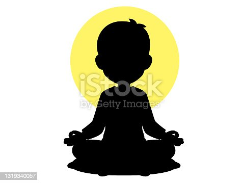 istock Cartoon image of a man sitting in a sitting posture practicing meditation With a yellow light surrounding 1319340057