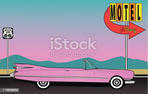A pink Caddy sits in a motel parking lot on Route 66 somewhere in the desert.