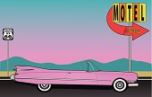 Cartoon image of a pink car driving to a motel
