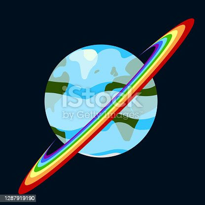 istock Cartoon image of a planet with a rainbow belt. Abstract detailed multi-colored image. Vector drawing in black outer space. 1287919190