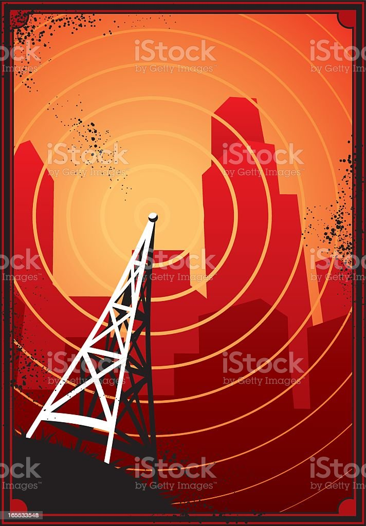 A cartoon image of a radio city royalty-free stock vector art