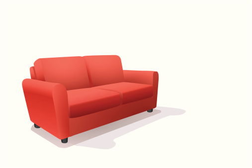 Cartoon image of a red sofa on a white background
