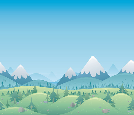 A cartoon image of a seamless forest and mountain landscape