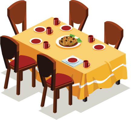 A Cartoon Image Of A Set Dinner Plate Stock Illustration ...