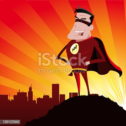 istock A cartoon image of a smiling male super hero on a hill  120122342