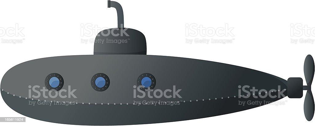 A cartoon image of a submarine royalty-free stock vector art