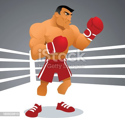 istock Cartoon image of a tough boxer in a white boxing ring 165503810