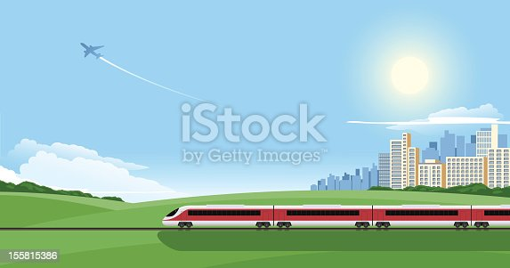 istock Cartoon image of a train on a journey out of the city 155815386