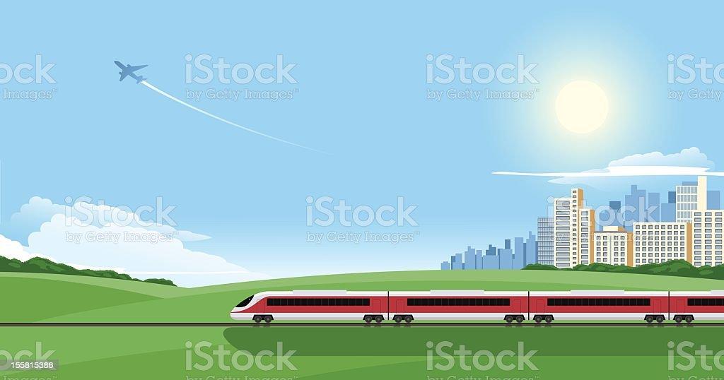 Zugfahrt – Vektorgrafik