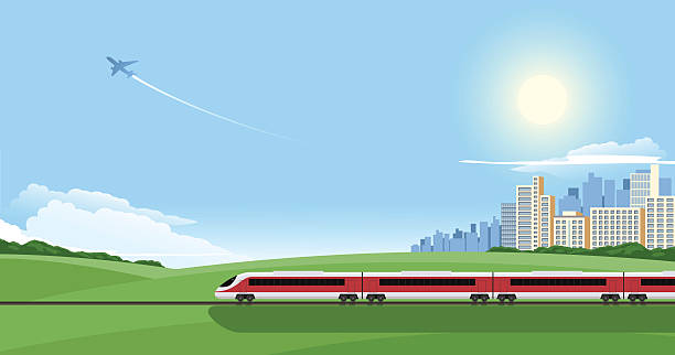 cartoon image of a train on a journey out of the city - kırsal manzara stock illustrations
