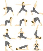 A woman in various yoga poses.