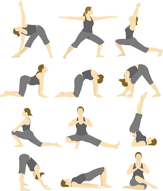 stockillustraties, clipart, cartoons en iconen met a cartoon image of a woman doing different yoga poses - buigen lichaamsbeweging