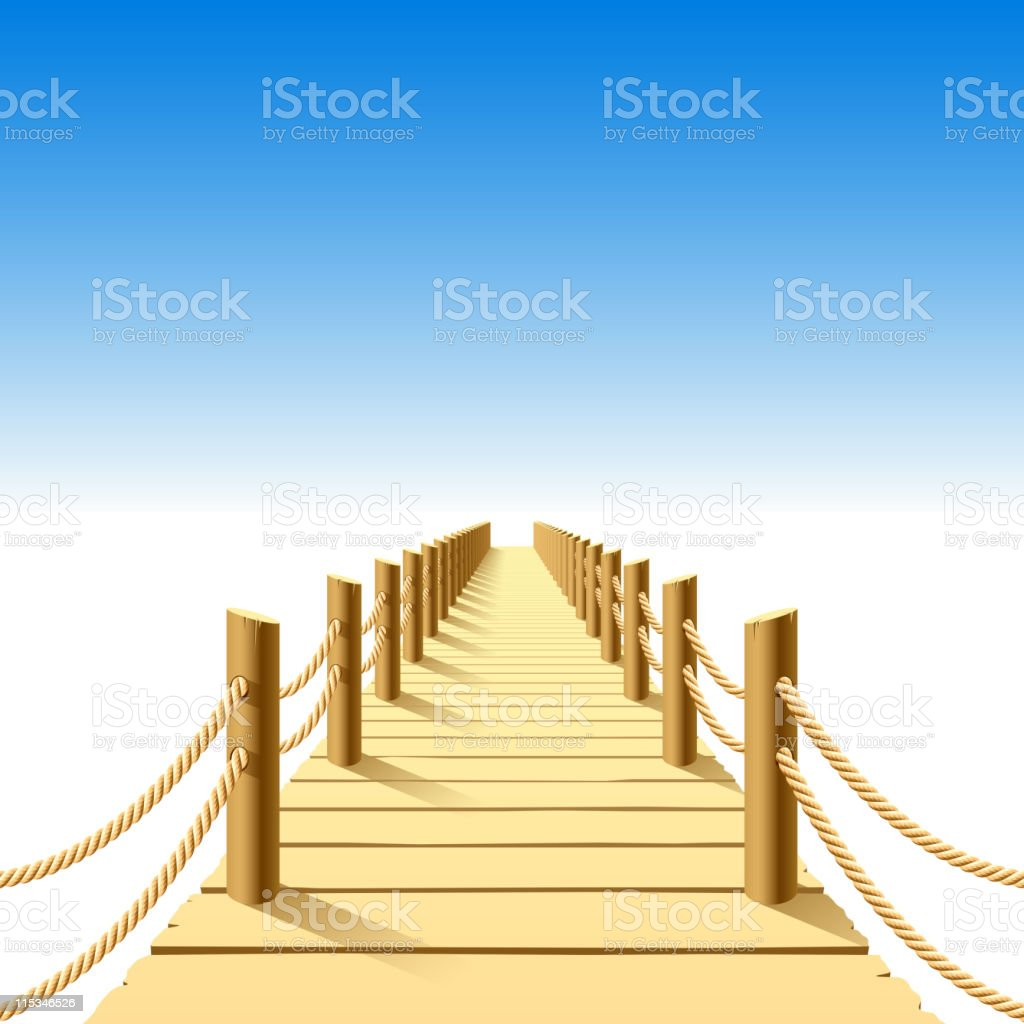 Cartoon image of a wooden jetty vector art illustration