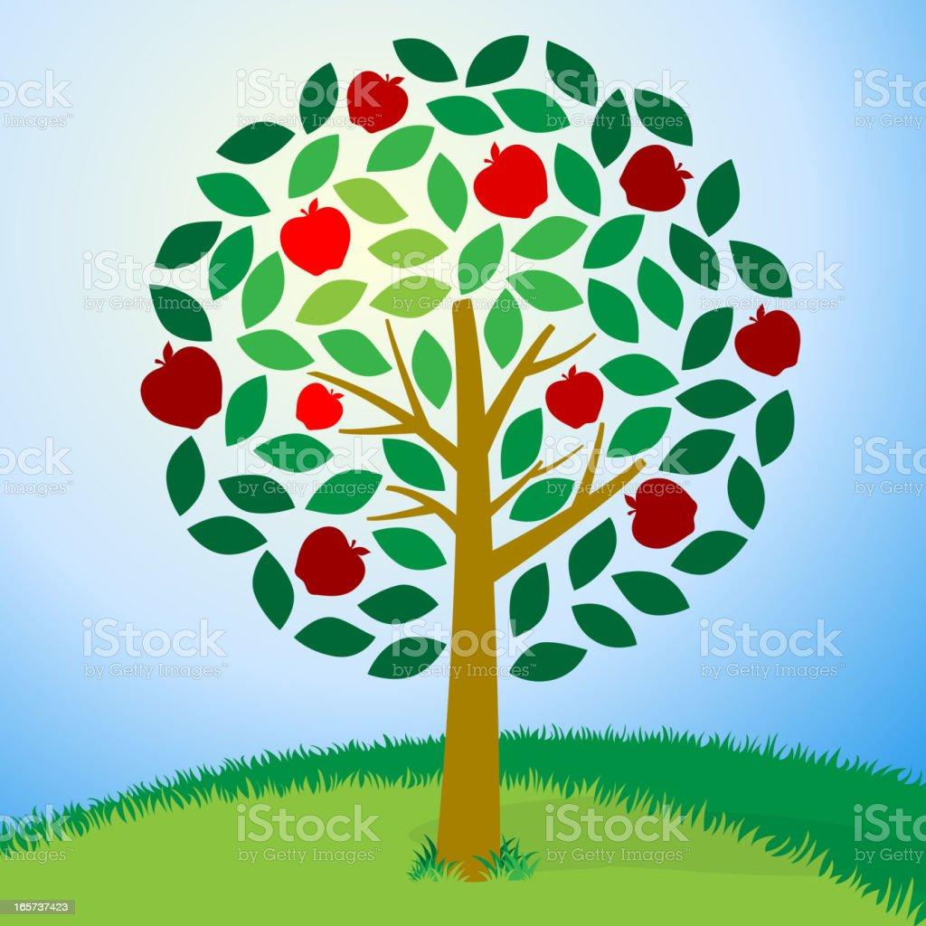 Cartoon image of an apple tree royalty-free stock vector art