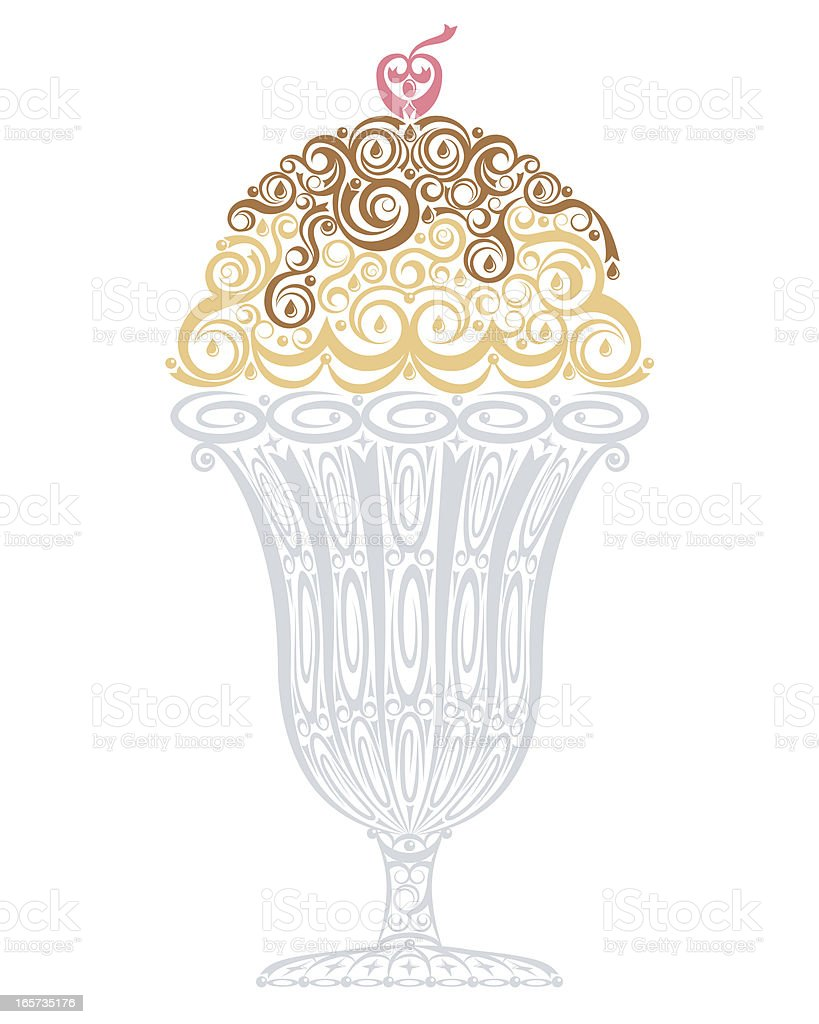 A cartoon image of an ice cream Sunday in a tall glass royalty-free a cartoon image of an ice cream sunday in a tall glass stock vector art & more images of cherry
