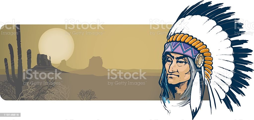 A cartoon image of an Indian and a desert royalty-free stock vector art