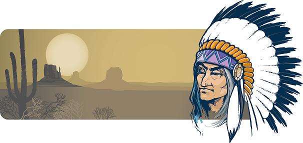 A cartoon image of an Indian and a desert