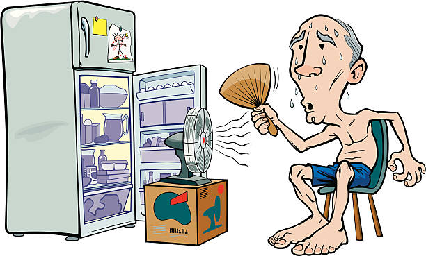 Cartoon image of an old man trying to beat the heat vector art illustration