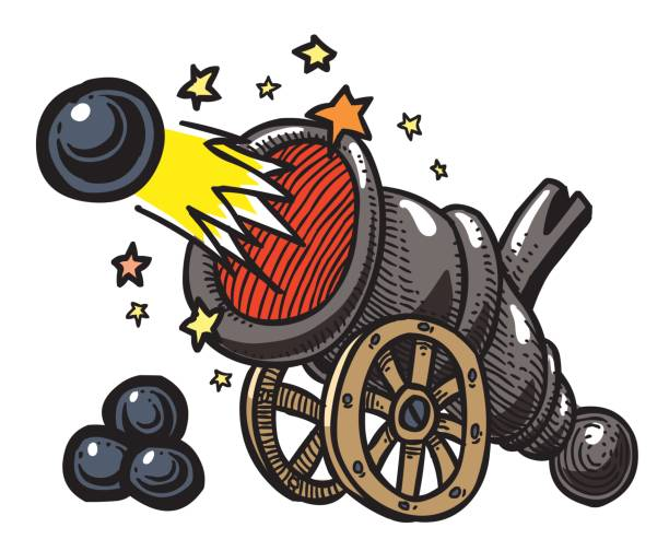 Best Cannon Fire Cartoon Illustrations, Royalty-Free Vector