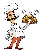 Cartoon image of chef with burgers