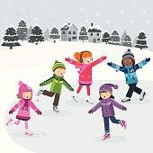 Children having fun on the ice.
