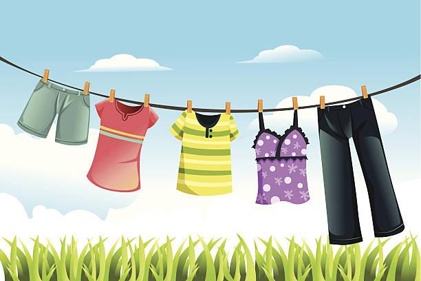 Clothes Line Clip Art ~ Royalty free clothesline clip art vector images