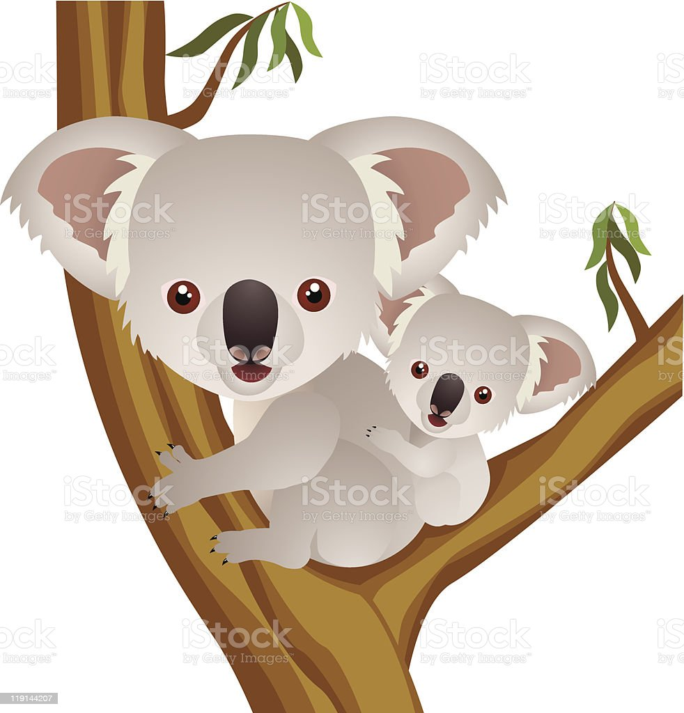 Cartoon image of cute koala and its baby in eucalyptus royalty-free cartoon image of cute koala and its baby in eucalyptus stock vector art & more images of animal