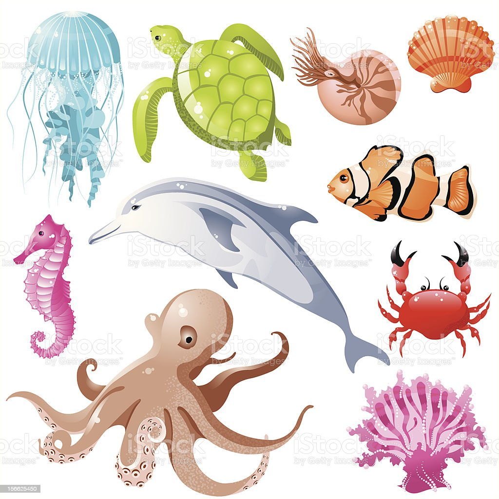 A cartoon image of different sea creatures royalty-free stock vector art