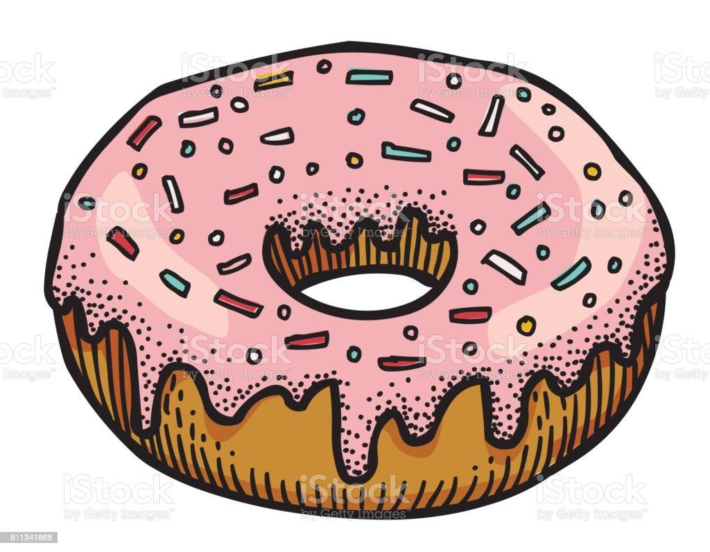 Cartoon image of doughnut vector art illustration