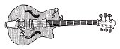 Cartoon image of electric guitar. An artistic freehand picture.