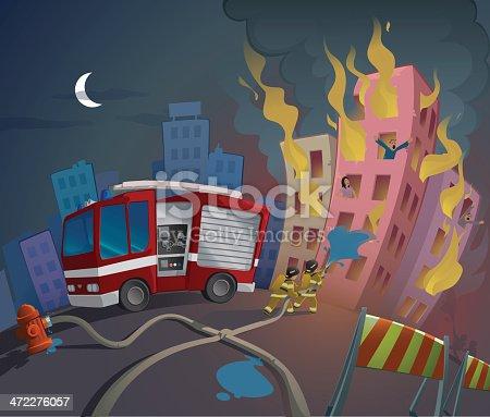 Cartoon image of fireman saving people from fire
