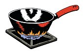 Cartoon image of frying pan on fire