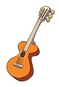 Cartoon image of guitar. An artistic freehand picture.
