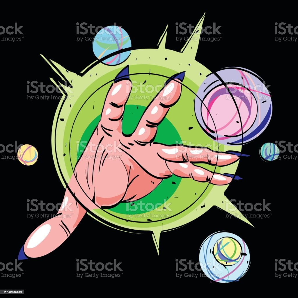 Cartoon image of hand casting spell
