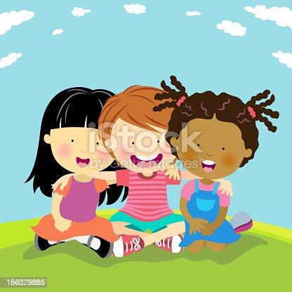 istock Cartoon image of happy friends 156329885