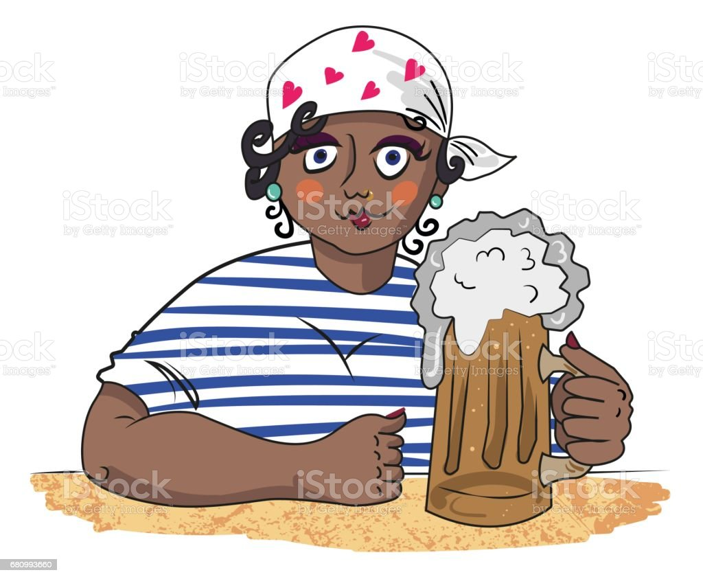 Cartoon image of hard working woman with beer royalty-free cartoon image of hard working woman with beer stock vector art & more images of art and craft