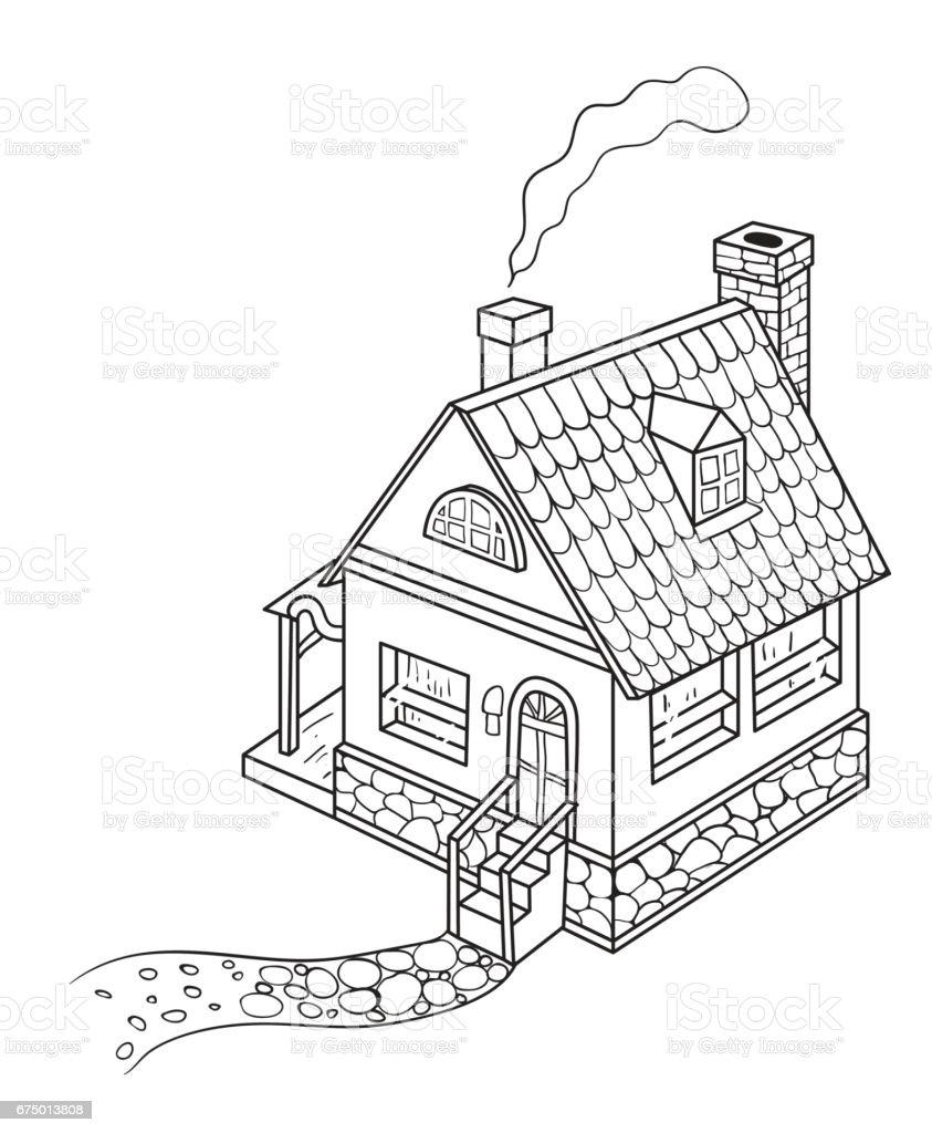 Comicbild Des Hauses Stock Vektor Art Und Mehr Bilder Von