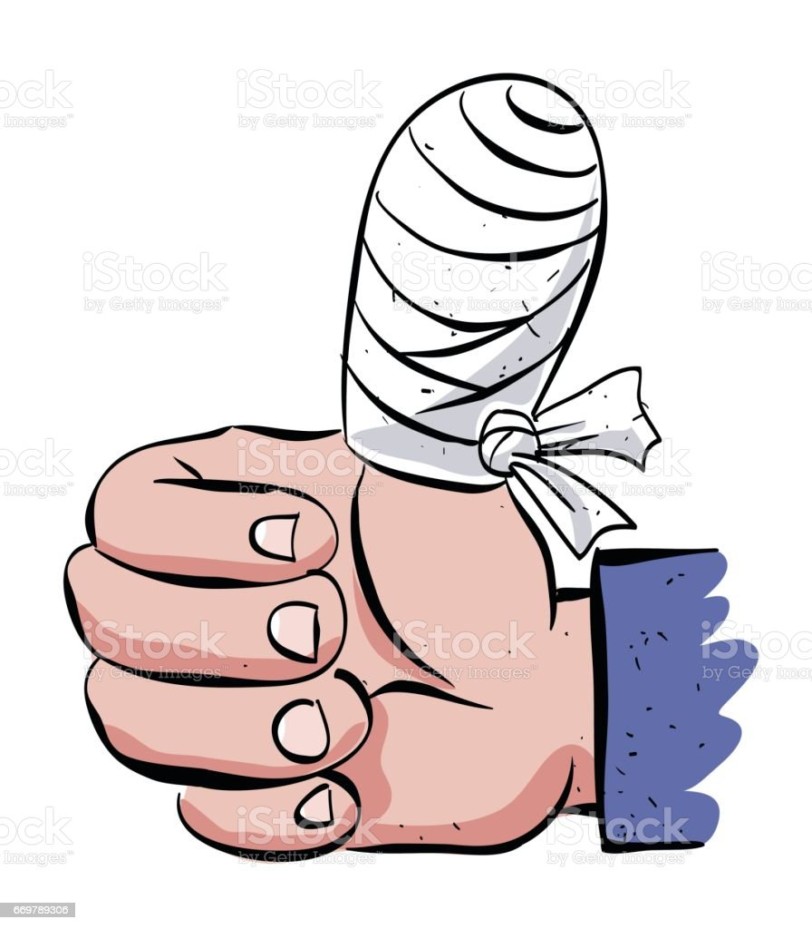 Cartoon image of injured hand vector art illustration