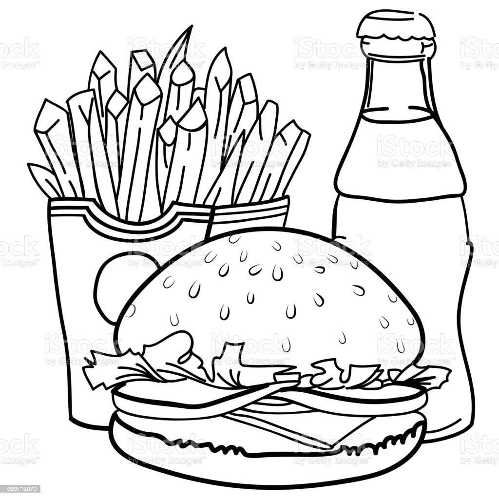 Cartoon Image Of Junk Food Cola Drink Stock Illustration ...
