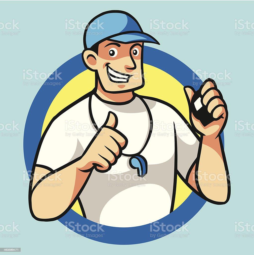 Cartoon image of male coach grinning vector art illustration