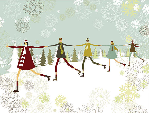 A cartoon image of people holding hands for Christmas vector art illustration