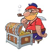 Cartoon image of pirate captain with treasure chest