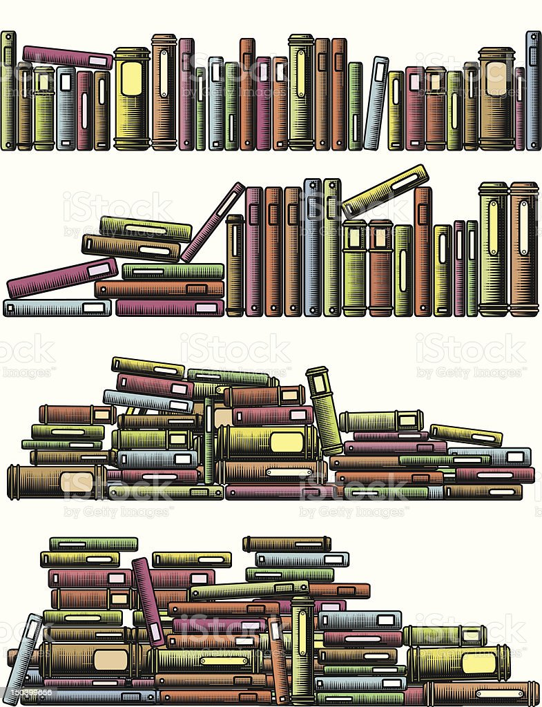 A cartoon image of several shelves with books royalty-free stock vector art
