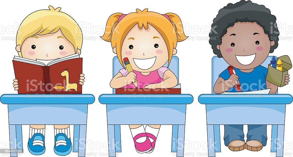 Cartoon Image Of Three Children In Class Stock Vector Art ...