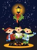 Three boys singing a Christmas carol.